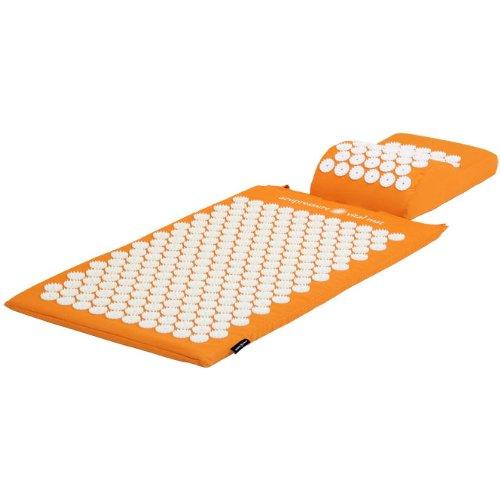 Tapis d'acupression 74 x 44 cm orange + Coussin d'acupression 33 x 28 cm orange