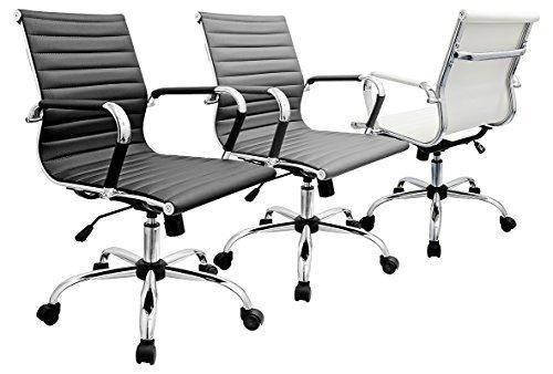 Chaise de bureau style Eames disponibles en noir, gris & ivoire