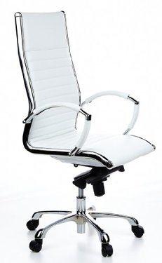fauteuil de direction cuir blanc design