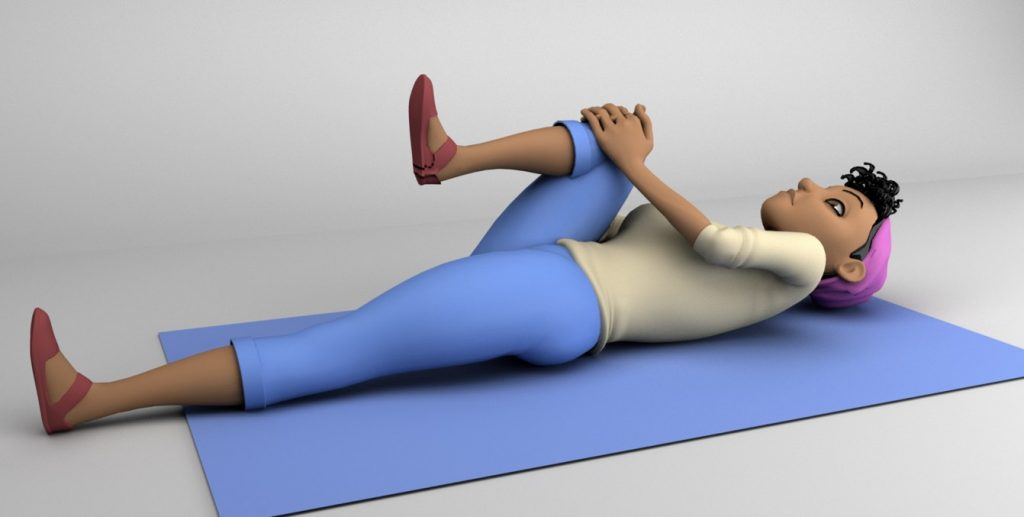 amener le genoux droit contre la-poitrine