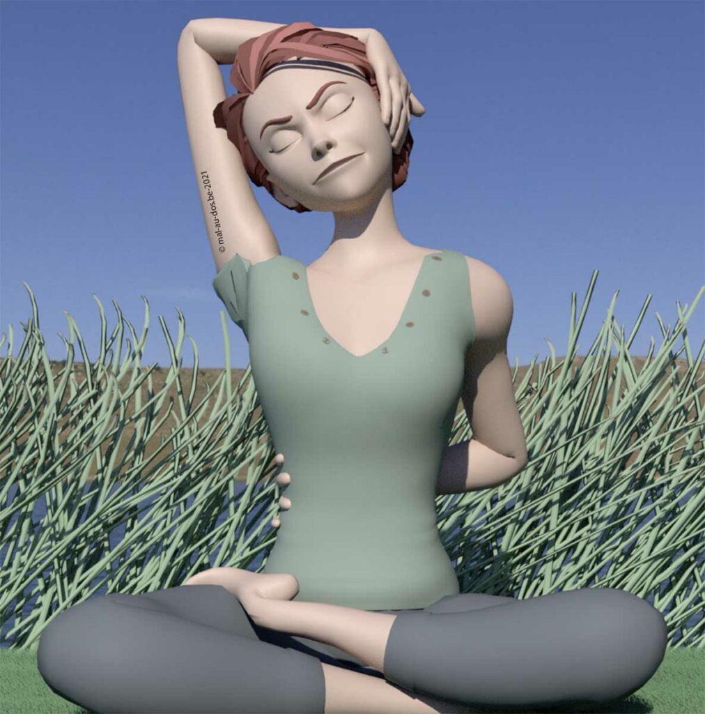 Yoga nuque épaules: étirement pnf nuque