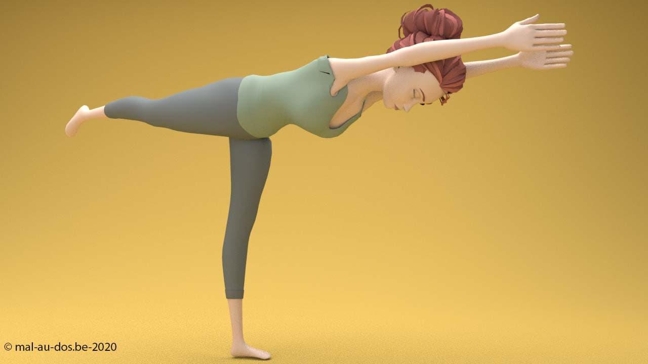 Pose de yoga équilibre sur une jambe