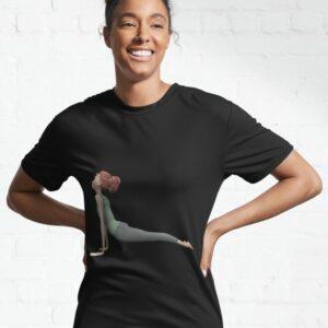 t-shirt femme yoga chien tete en haut