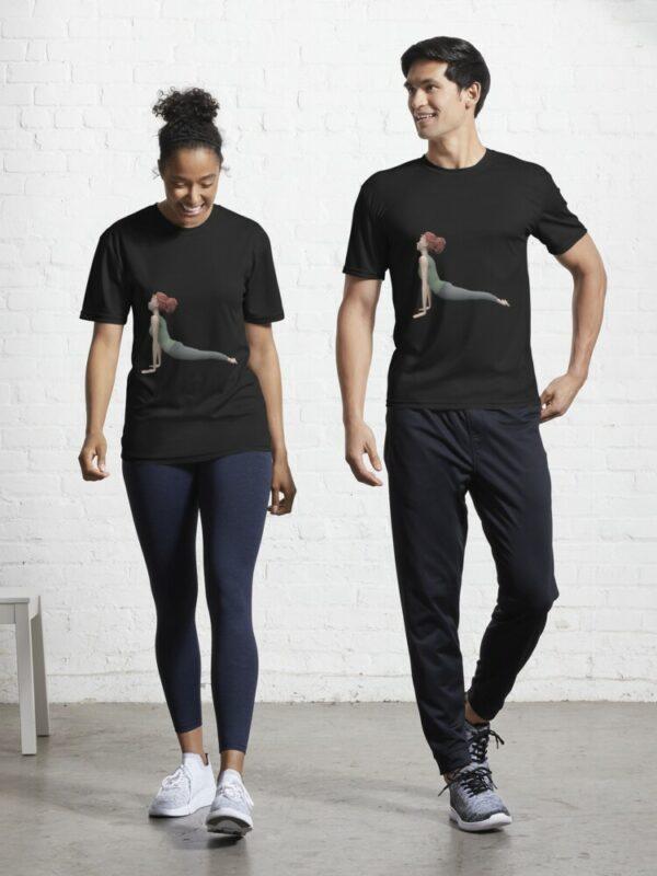 t-shirt yoga chien tete en haut homme-femme